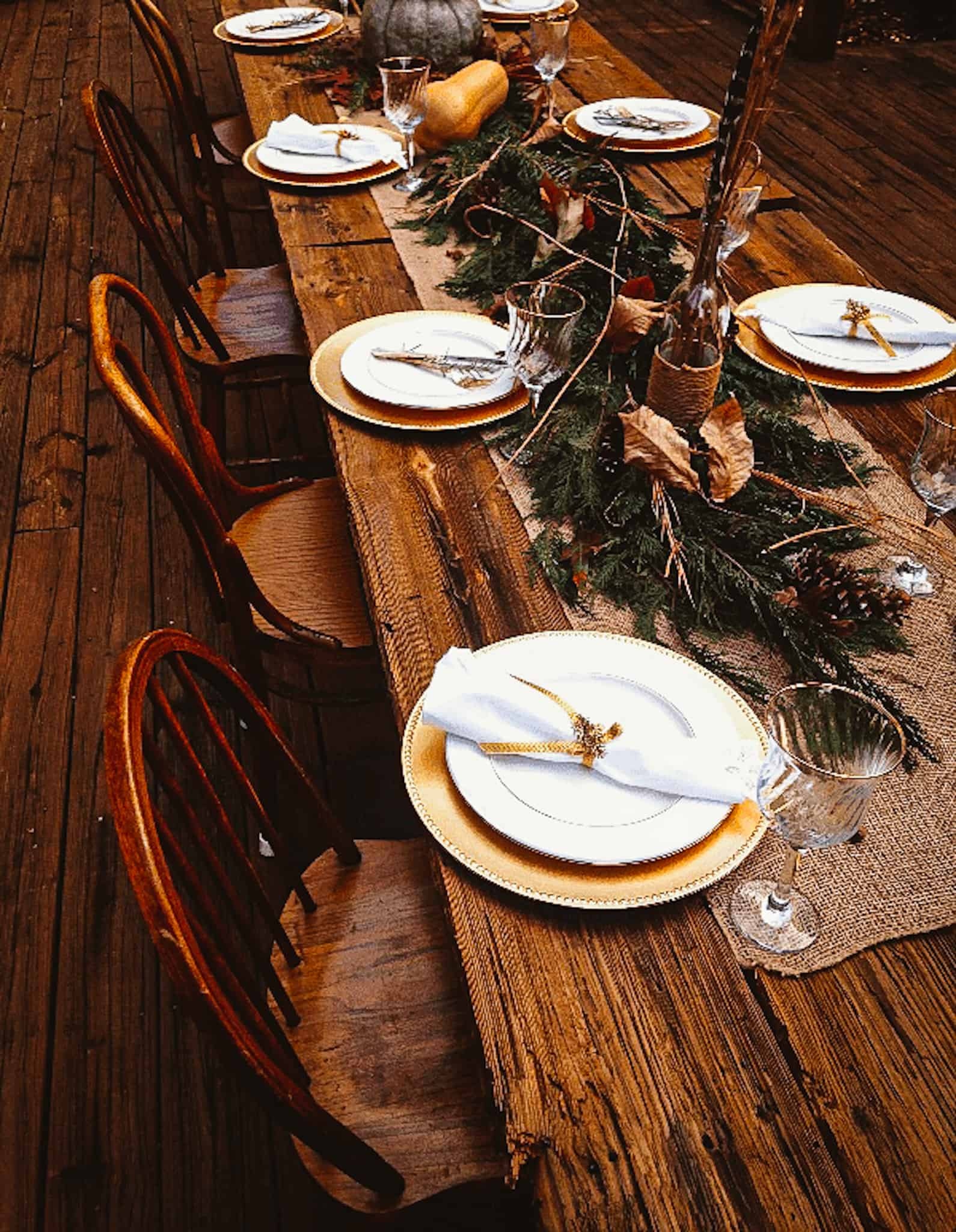 rustic reclaimed barn wood table with thanksgiving decor
