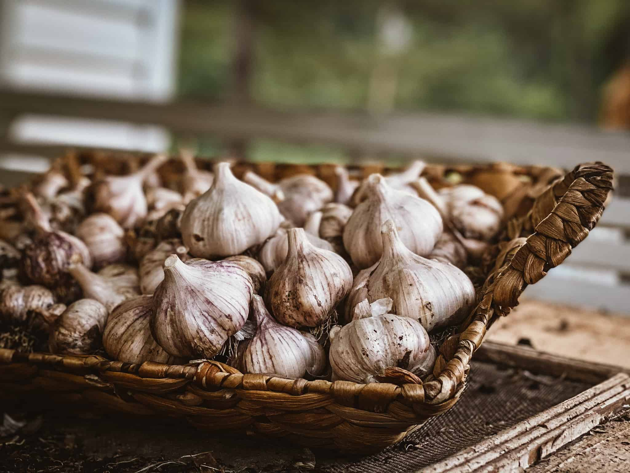garlic cloves in woven basket